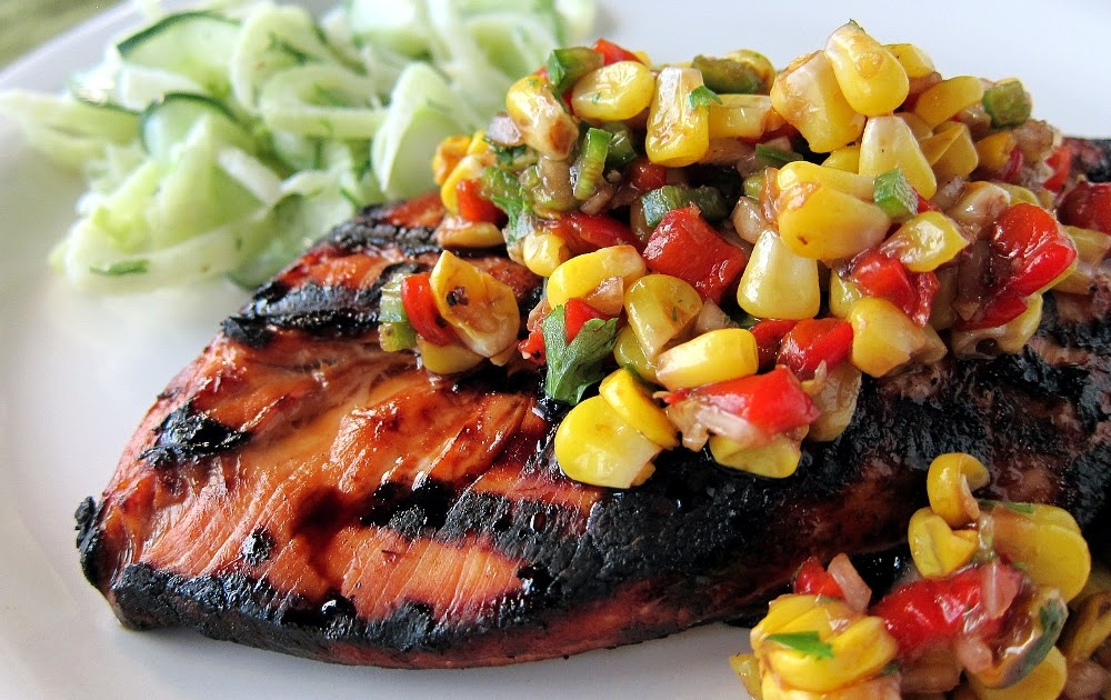 ... call for corn: grilled chicken with corn and roasted red pepper relish