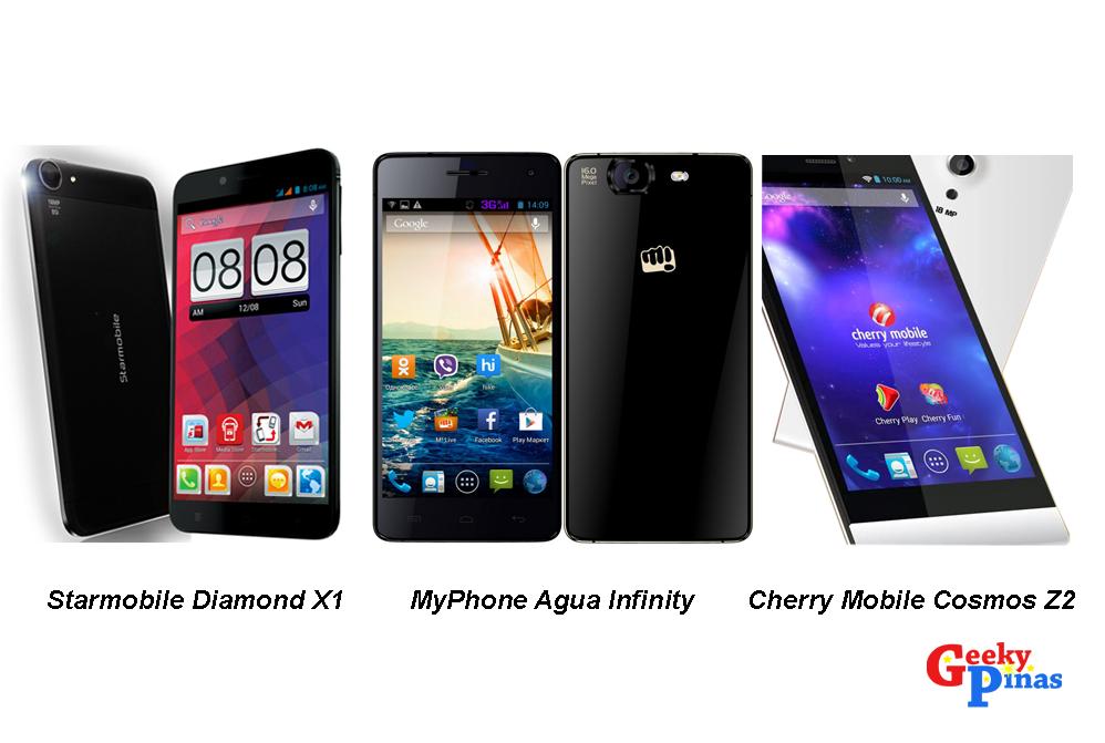 Local Octa-core Smart Phones: Starmobile Diamond X1 VS MyPhone Agua Infinity VS Cherry Mobile Cosmos Z2