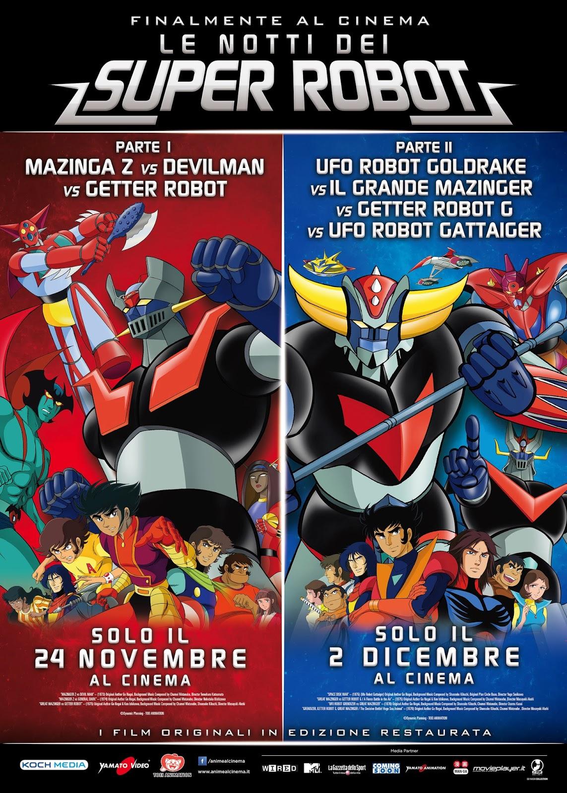 GOLDRAKE, DEVILMAN, MAZINGA E GETTER AL CINEMA NELLE NOTTI DEI SUPER ROBOT