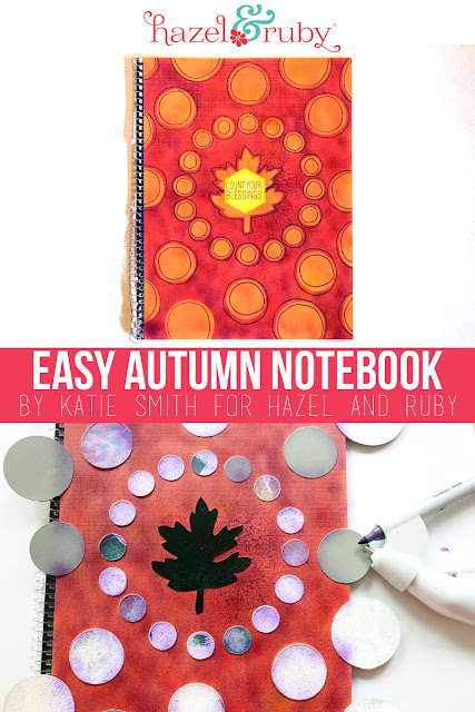 Katie Smith uses Hazel & Ruby products with Craftwell's eBrush to restyle this notebook! #FALLFOREBRUSH