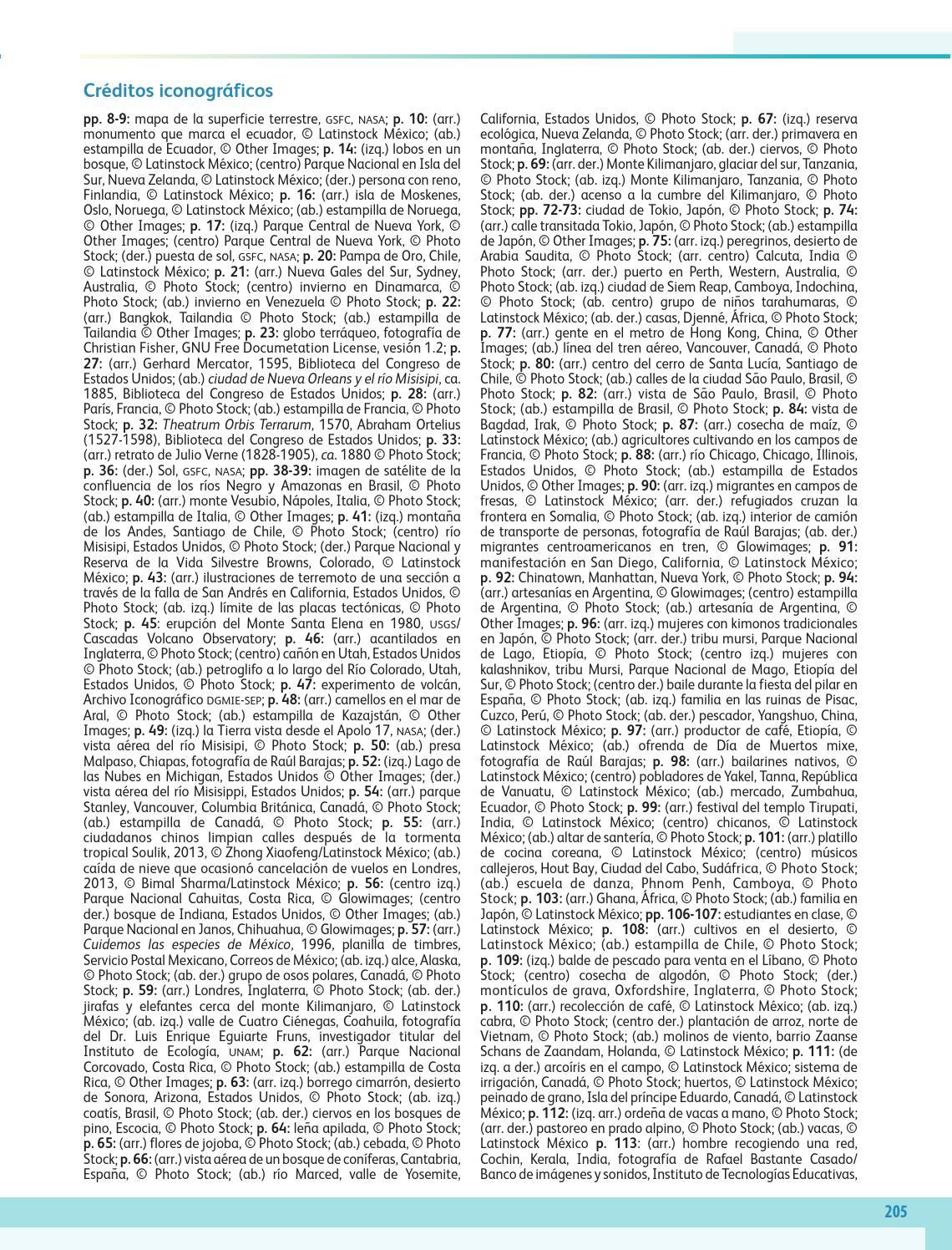 Créditos iconográficos - Geografía Bloque 5to 2014-2015