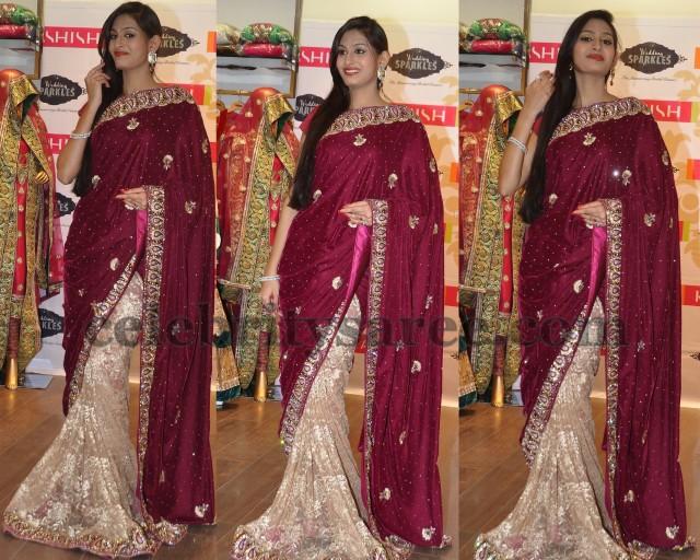 Swetha Jadav Half and Half Saree