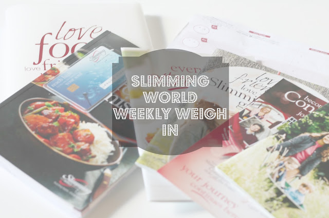 slimming world weekly weigh in photo with scattered magazines and text