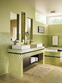 Banheiro pastilha verde
