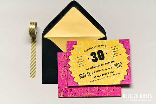 These Invitations And I Think Perfectly Married Ahem Pun The Crazy 80s Theme With My Own Sophisticated Style Typography