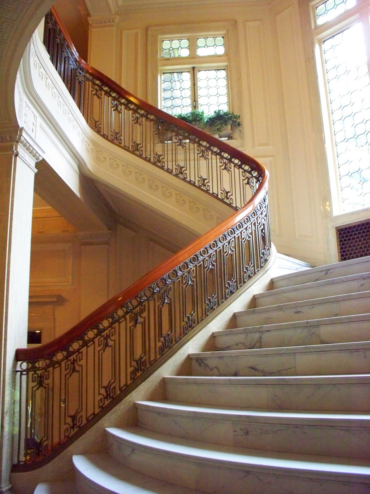 The grand staircase to the second floor