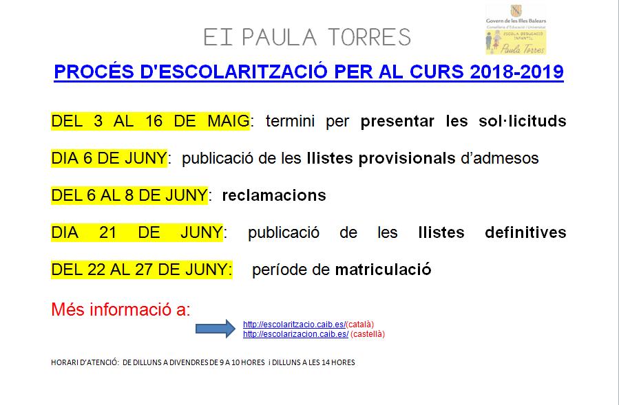 ESCOLARITZACIÓ CURS 2018/2019