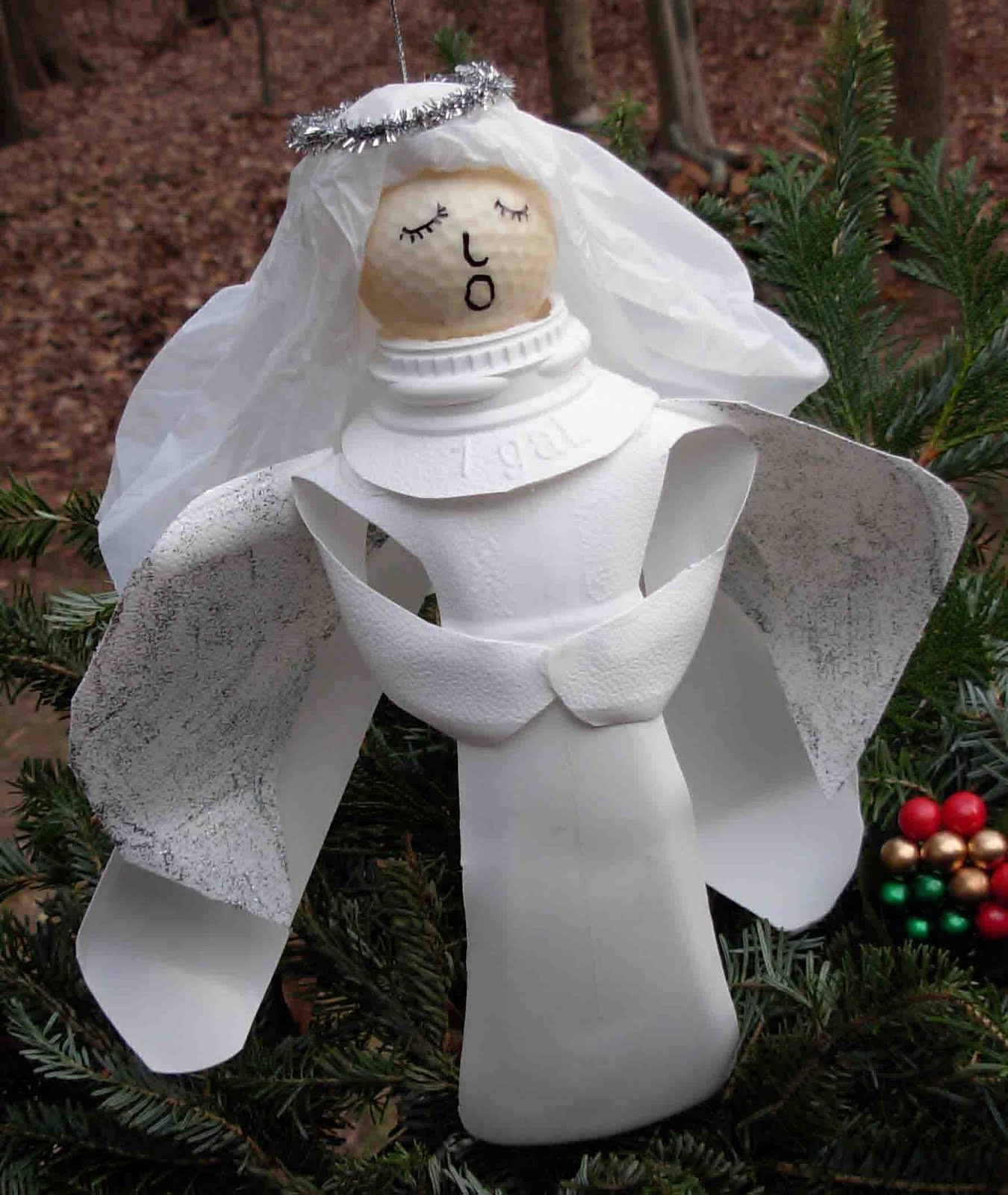 Crack of dawn crafts recycled milk jug angel craft for Christmas crafts with milk cartons