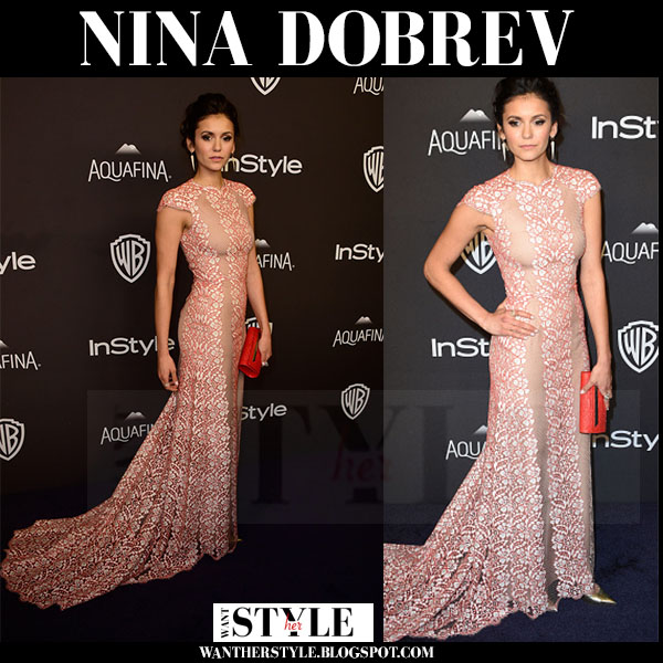 Nina Dobrev in pink floral gown max azria atelier golden globes after party what she wore
