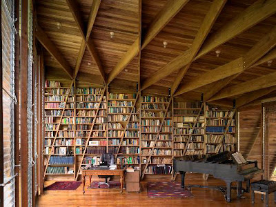 Large home library room