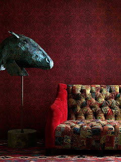 Brisbane Interior Decorating Wallpaper in Red