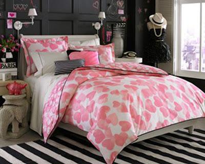 habitación rosa negro blanco