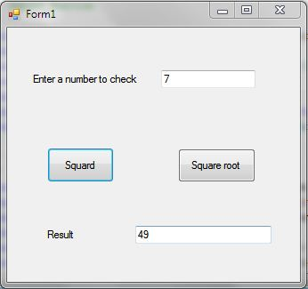 C# Find Square and Square Root of a Number