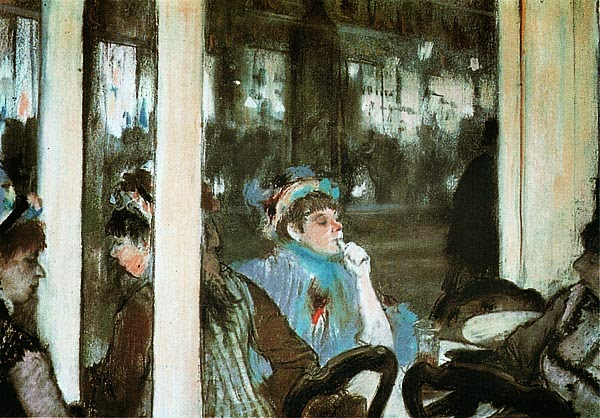 Эдгар Дега. Женщины на террасе кафе вечером. 1877.