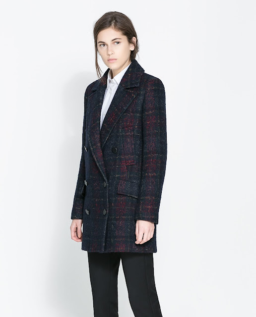 checked coat with pockets
