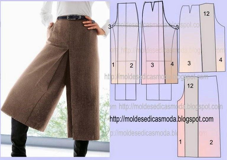 Сшить юбка брюки разных видов 46