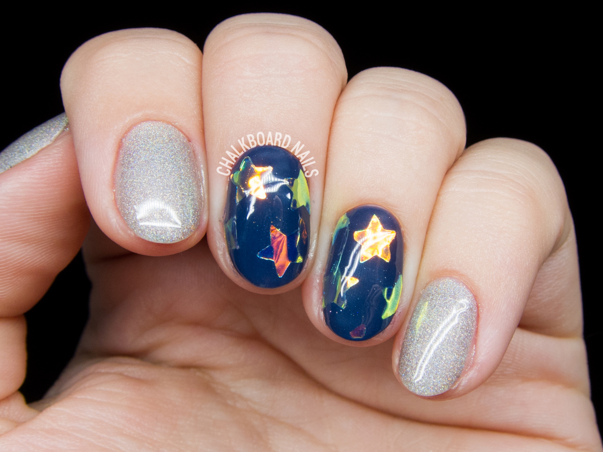 Glass Star nails by @chalkboardnails