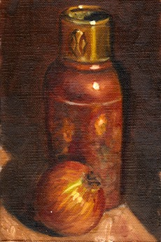 Oil painting of an onion with an Art Deco copper vase behind.