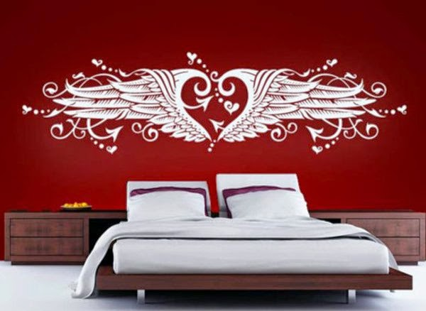 Modern Bedroom Wall Decor Red Wall With White Wall Tattoo