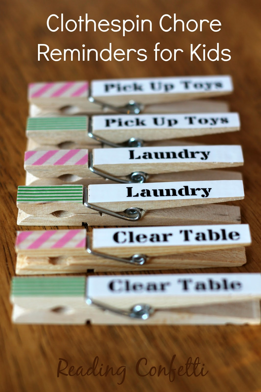 Easy clothespin chore reminders for kids