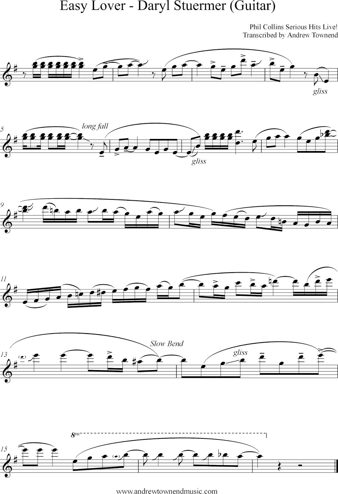 Guitar Transcription - Easy Lover