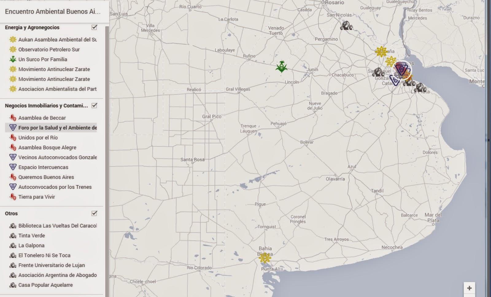 mapa de asambleas y organizaciones