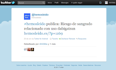 Tweet del artculo de 'Hemos ledo...' RT por AISSMa