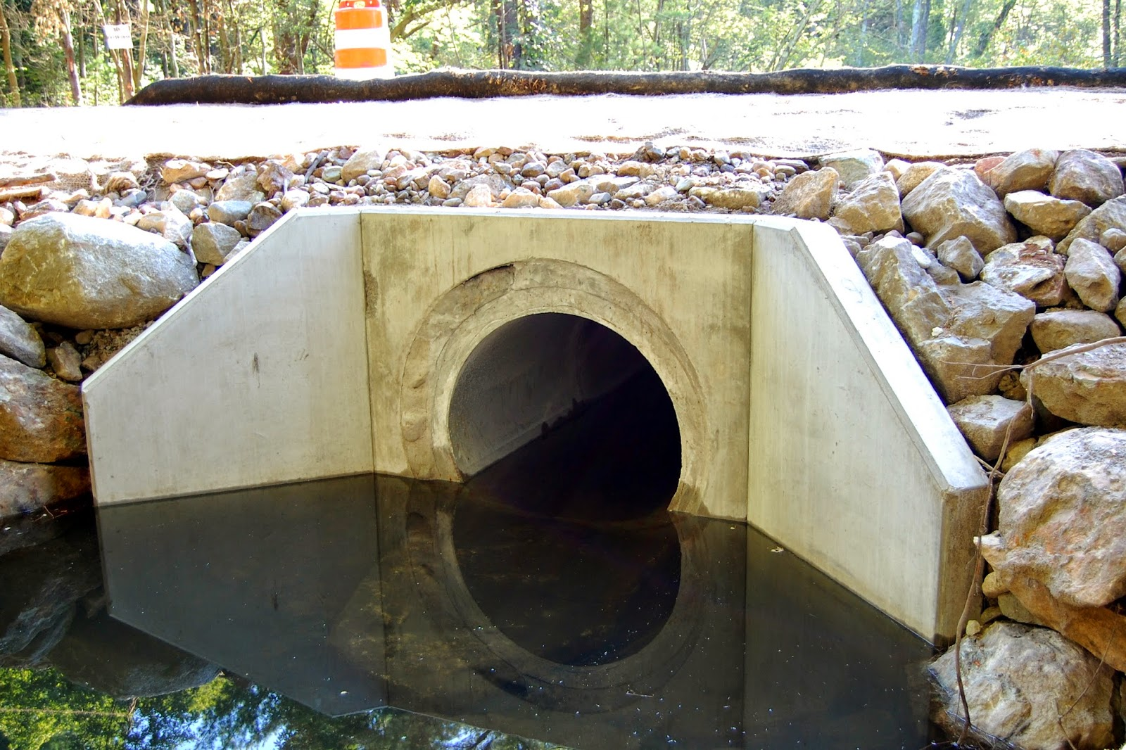 one of the new culverts from stream side