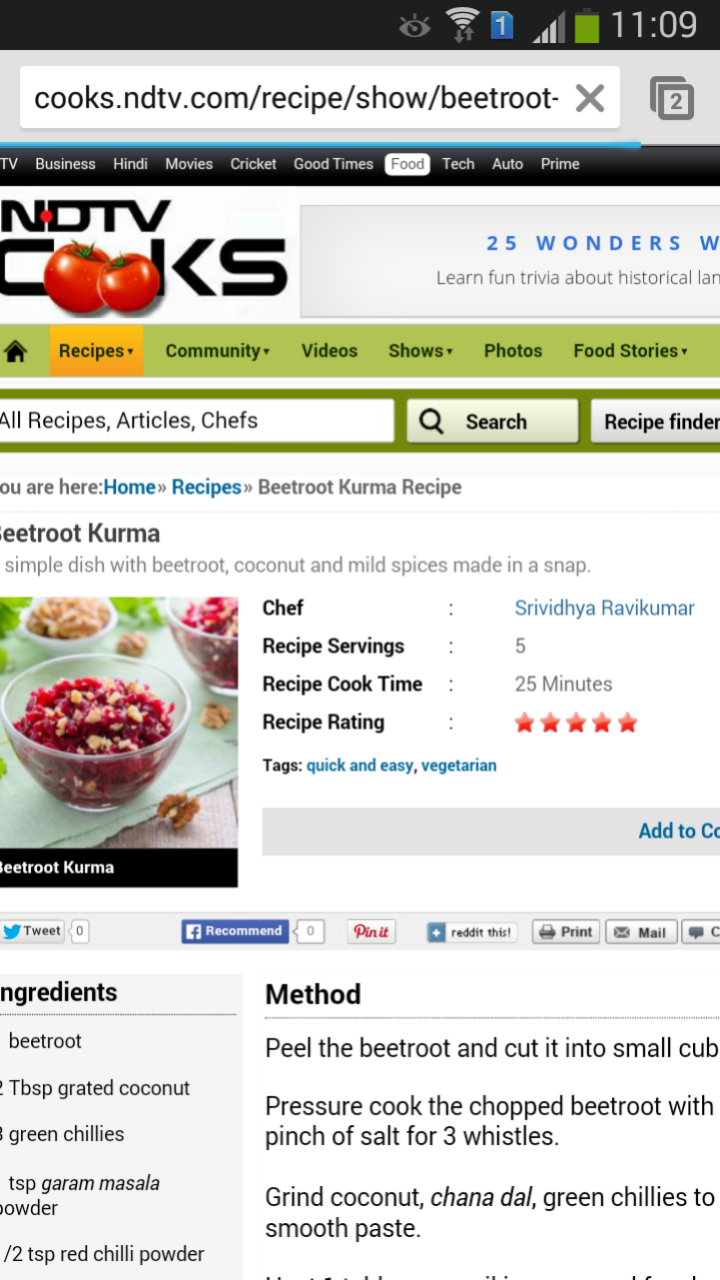 Recipe Featured In NDTV Cooks,com