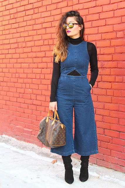 70s trend, jumpsuits, over the knee boots, coulottes, toronto fashion blogger, kako nositi rolk, louis vuitton tasna, 70s style, seventies style, how to style a turtleneck
