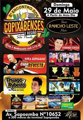 Dia 29 de Maio tem 8° Encontro de Copixabenses em São Paulo!