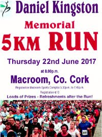 Annual 5k race in Macroom...Thurs 22nd June 2017