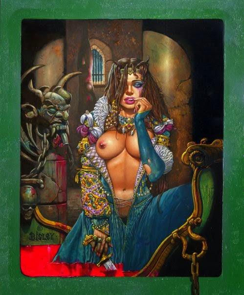 Dessin de Simon Bisley représentant erzebeth Bathory sexy dans sa baignoire de sang