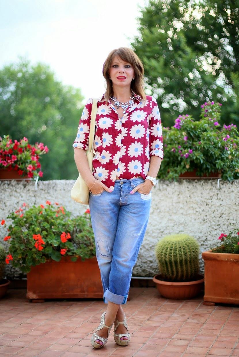 camicia a fiori anni 70