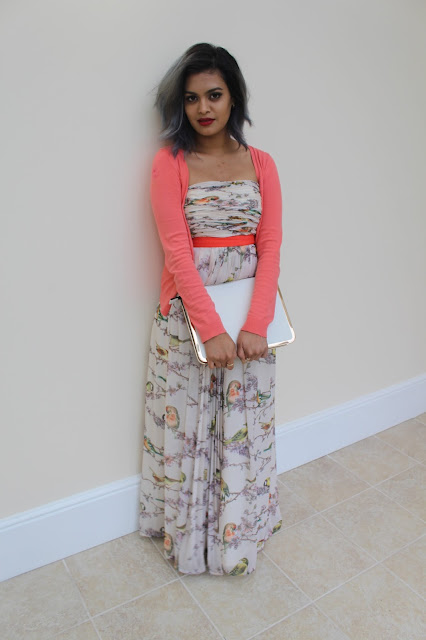 grey hair on brown girl, ted baker dress, maxi dress styling