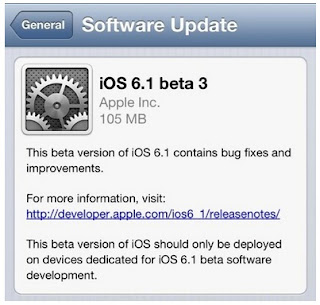 Update iOS 6.1 Beta 3