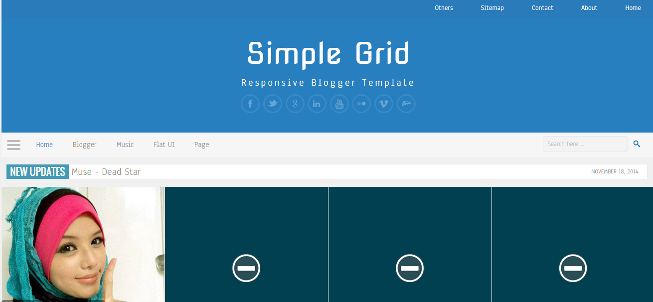Download Simple Grid Responsive Free Blogger Template