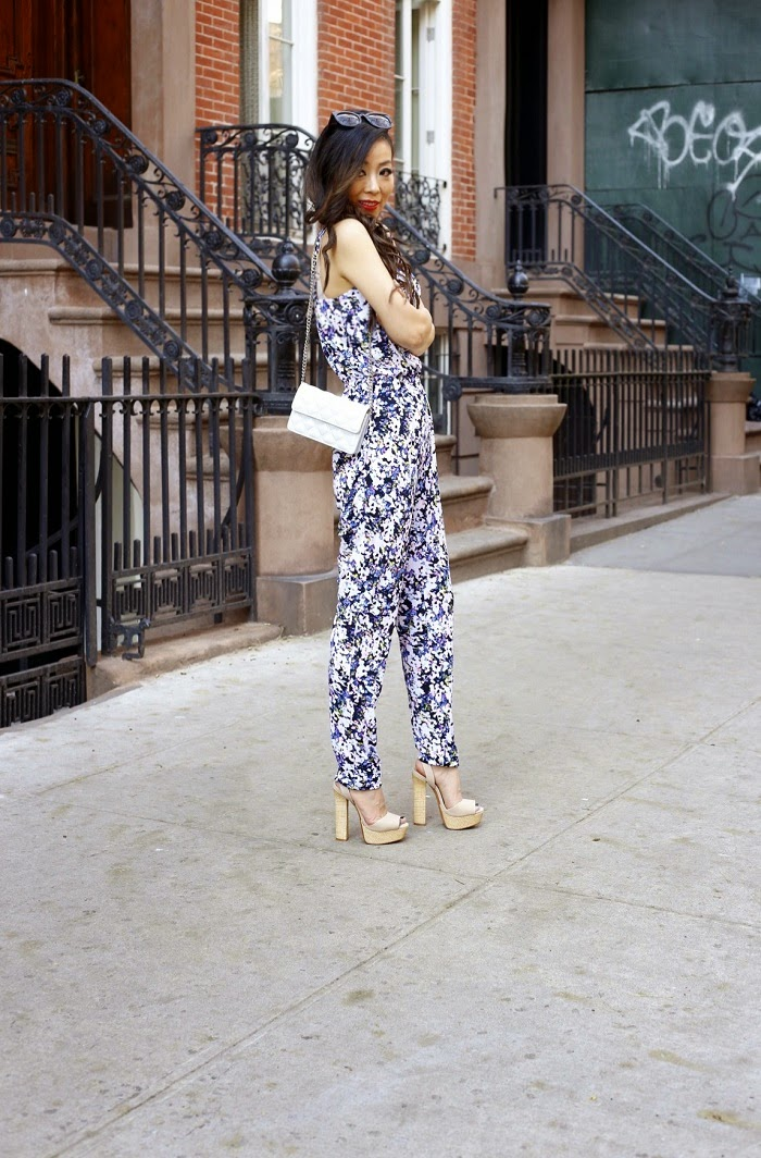 floral jumpsuit, fashion blog, marc jacobs bag, schutz sandals, new york city, street style, how to wear jumpsuit, karen walker super dumper sunglasses