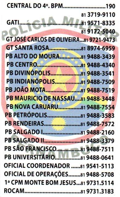 4º BPM - TELEFONES