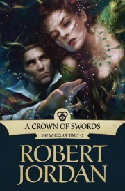 Cover of A Crown of Swords, featuring a dark-haired white woman drowning as a dark-haired white man reaches for her.