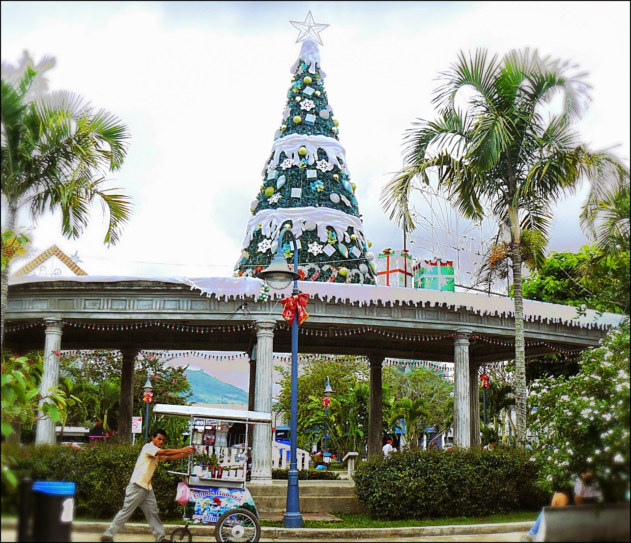 Christmas decorations in San Isidro, Costa Rica square