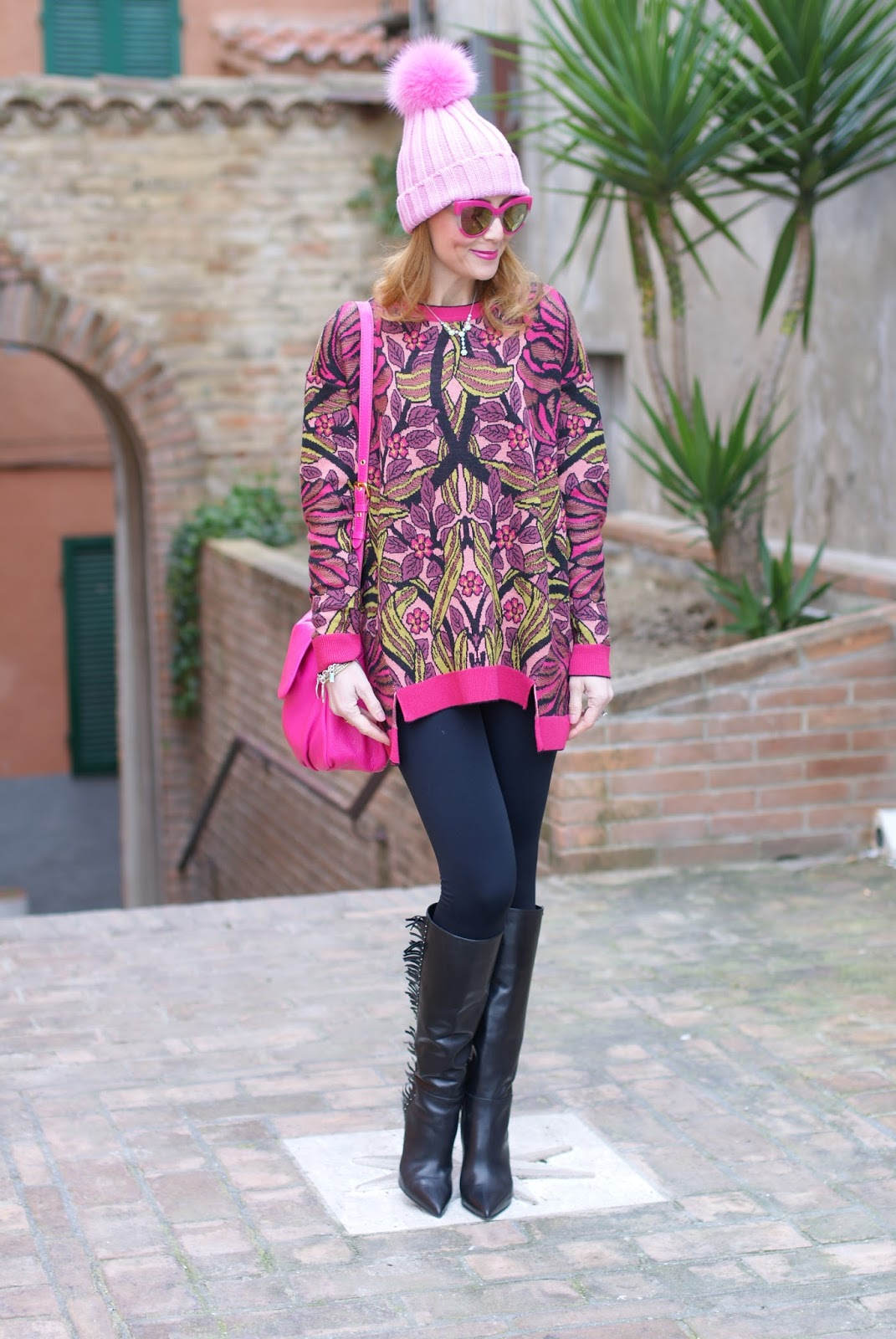 How to wear leggings, Pink beanie with furry pom-pon and fringed boots, Max Mara ascoli sweater on Fashion and Cookies fashion blog, fashion blogger style
