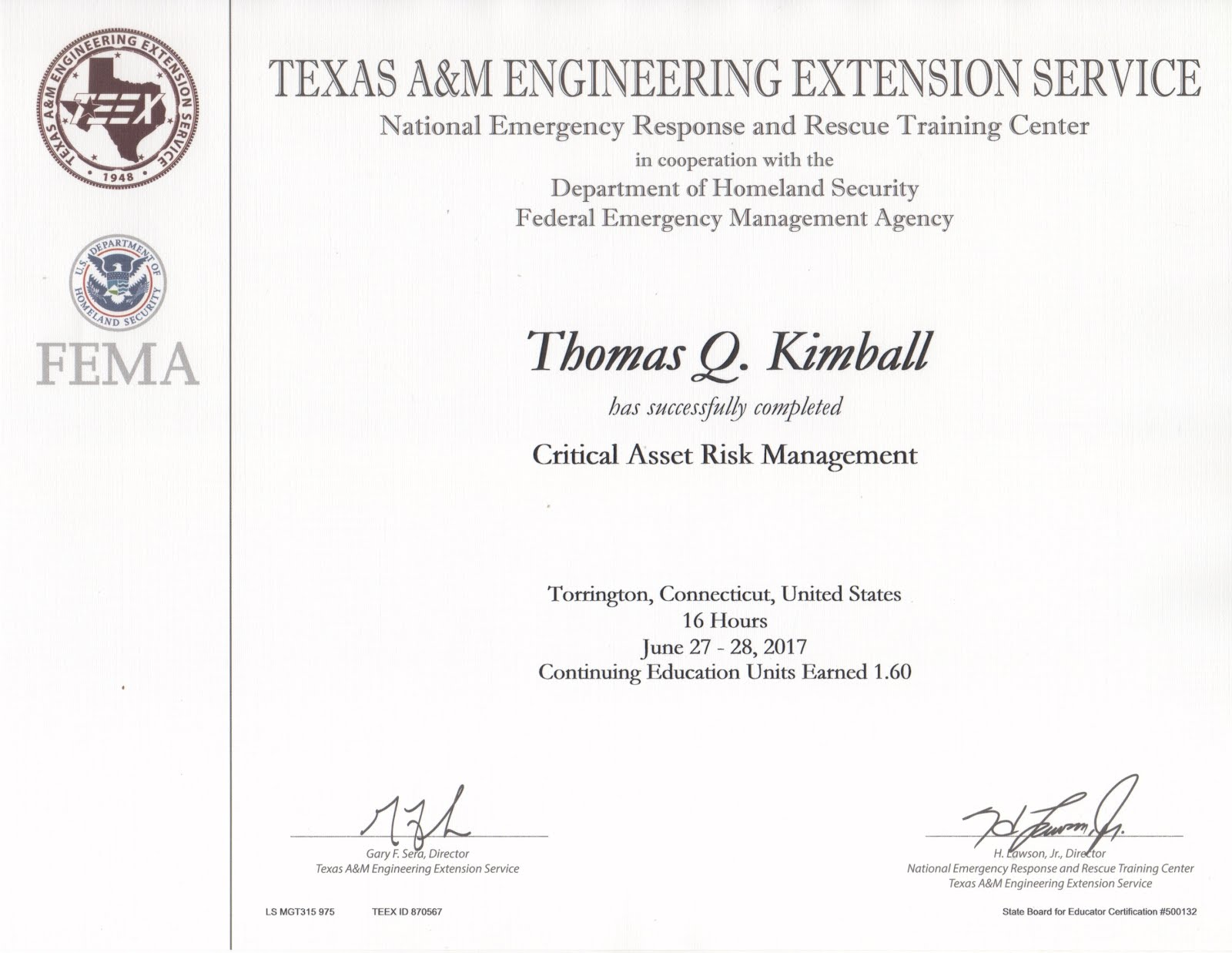 TEEX MGT-315 Critical Asset Risk Management