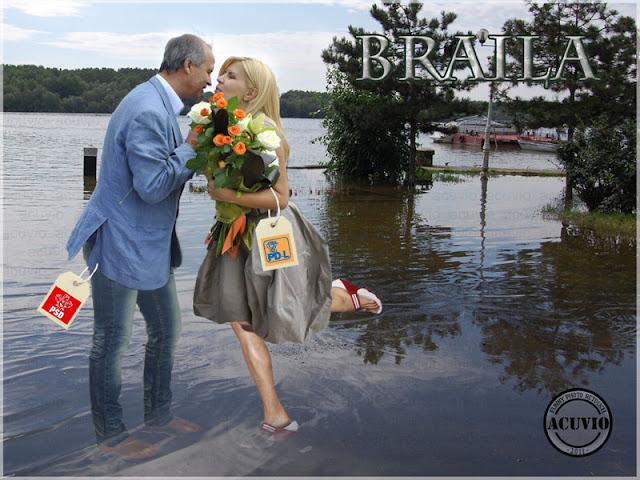 Elena Udrea Aurel Simionescu Braila Funny photo postcard