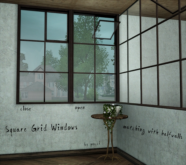 My sims square grid windows by pocci