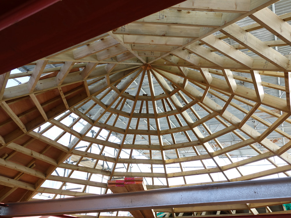 Half-built roof on postmill conversion, Malling Mill, Sussex Downs, 2015