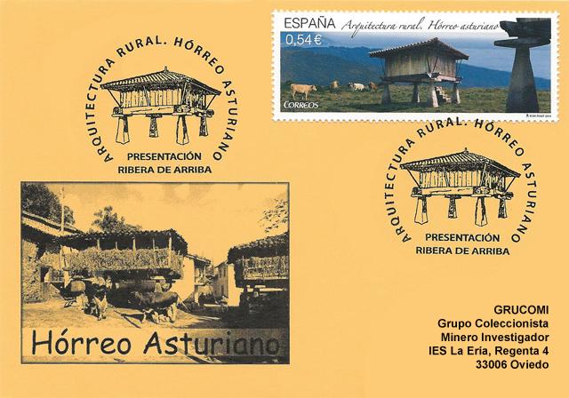 Tarjeta del matasellos del hórreo asturiano