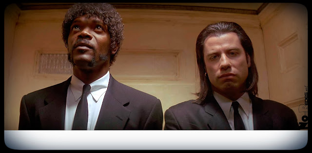Pulp Fiction conversaciones del ascensor, sin texto.