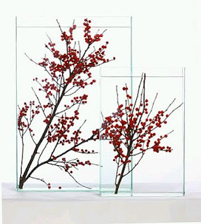 Decoracion con Flores Sumergidas Rojas, Centros de Mesa