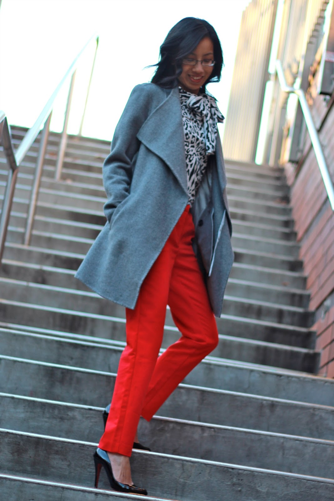 winter work wear red pants